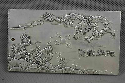 Old Rare Collectable Chinese Miao Silver Carve Myth Dragon Netsuke Noble Pendant