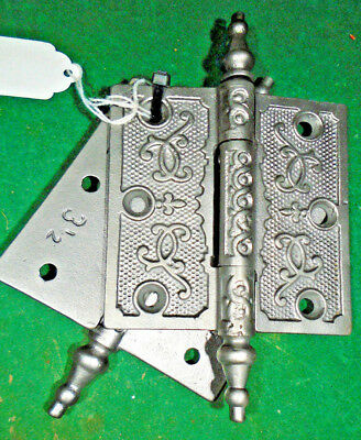 ONE PAIR of VINTAGE EASTLAKE HINGES  'Fleur De Lis' 3 1/2 x 3 1/2 NICE (10524)