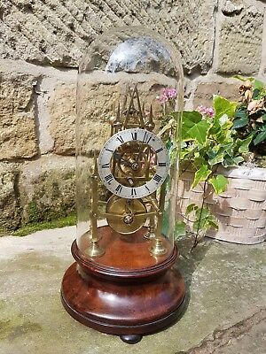 A fine quality six pillar skeleton clock c1850 small proportion -  Original dome