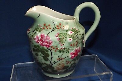 "Antique Japanese Celadon Porcelain Pre WWII Enameled Decorated 5""H Milk Pitcher"