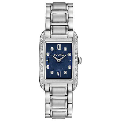 Bulova Women's 96R211 Quartz Diamond Accents Blue Dial Silver-Tone 34mm Watch