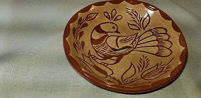 Vintage Carved Pottery Plate 1981 by DGreth carved clay & paint dove on flower