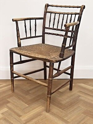 Antique Arts & Crafts Sussex Style Chair William Morris Simulated Bamboo Seat