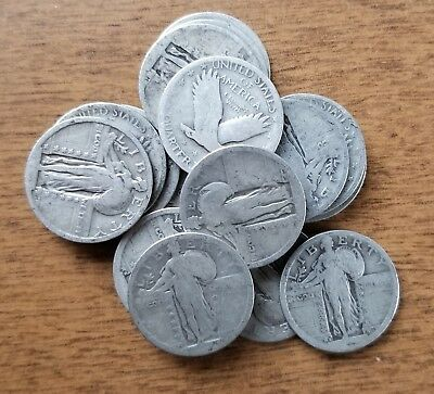 No Date Standing Liberty Quarter Silver Bullion Dateless Lot