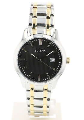 Bulova Men's 98B237 Quartz Black Dial Gold-Tone Accents Two-Tone Band 39mm Watch