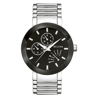 Bulova Men's 96C105 Quartz Black Dial Silver-Tone Bracelet 40mm Watch