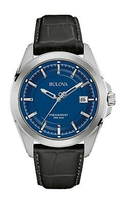 Bulova Precisionist Men's 96B257 Quartz Blue Dial Black Leather Strap 43mm Watch