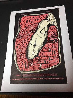 1966 Jefferson Airplane  psychedelic postcard poster Fillmore Auditorium