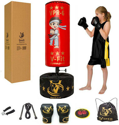 Kids Free Standing Boxing Punch Bag Speed Ball Junior Gloves Tumbler Agility