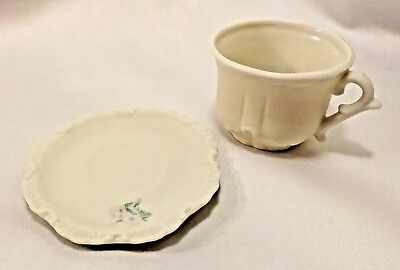 Pretty Miniature Tea Cup & Saucer Matt and Glossy Finish Pink Floral Print