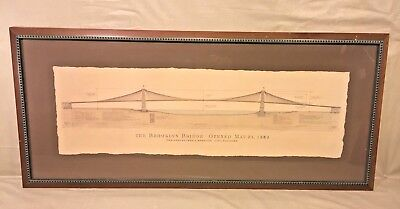 Antique Brooklyn Bridge Schematic Opened May 24, 1883 Designed by John Roebling