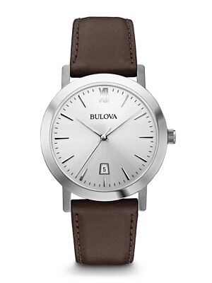 Bulova Men's Quartz Silver Tone Dial Brown Leather Strap 38mm Watch 96B217