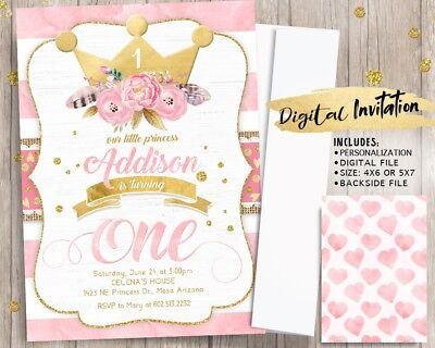 Princess First Birthday Invitations