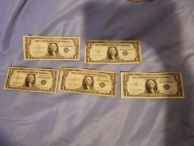 SERIES 1935  E    ONE DOLLAR SILVER CERTIFICATE==CIRCULATED CONDITION lot of 5.