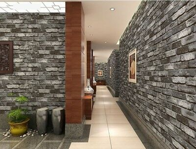 Grey 3D Brick Effect Wallpaper Slate Weathered Stone Realistic Paste Paper UK