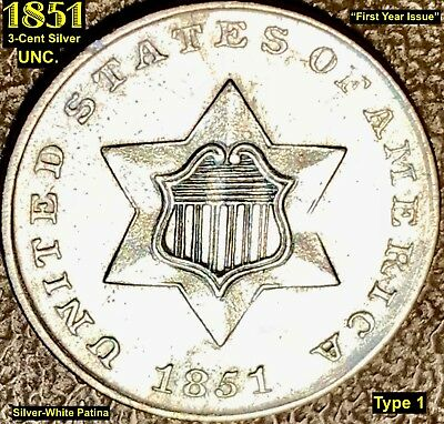 1851 3-Cent Silver - First Year Issue (Type 1) **uncirculated**
