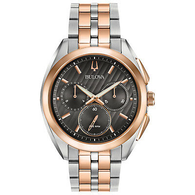 Bulova Men's CURV Chronograph Quartz Rose Gold Tone 43mm Watch 98A160