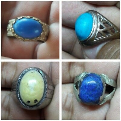 Lot 4 PCs Ring Antique Afghan Kuchi Banjara Ethnic Old Tribal Nomad Wholesale