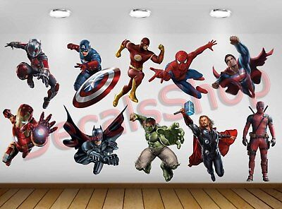 Set 10pcs Character SuperHero Avengers Vinyl Wall Decal Sticker DC Marvel Kid