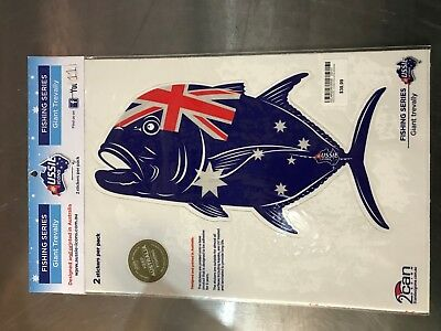 Aussie Icons Fishing Series Giant Trevally 2 Stickers per pack RRP $39.99