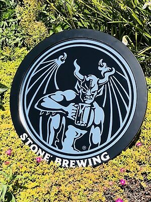 """Stone Brewing Whiskey Beer Bar Man Cave Round 20"""" Sign Mirror"""