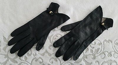 LADIES original vintage gloves BLACK LEATHER sz 6.5 PARTY COCKTAIL
