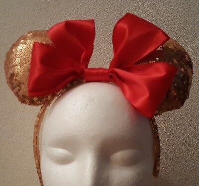 Handmade Mickey Mouse Ears Headband  Rose Gold Sequins With A Large Red Bow
