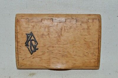 Antique / Regency Victorian Birds Eye Maple Wood Snuff  / Calling Card Box