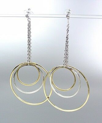 NEW GORGEOUS Sex and the City Silver Gold Metal Rings Drape Dangle Earrings