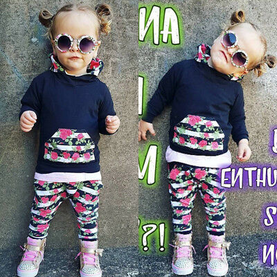 2pcs Baby Girls Hooded Top+Pants Outfits Set Infant Autumn Clothes Tracksuit