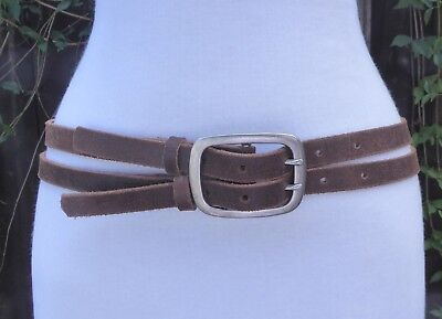 Vtg. Distressed Style Brown Leather Double Strap Belt w/Silver Tone Buckle