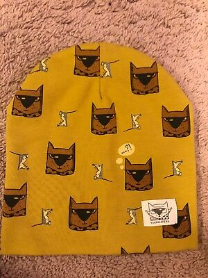 NWOT Size Medium Kids Beanie Hat w/ Dogs & Mice by Youngsters Olive Green