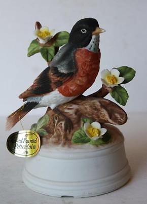Robin Bird Figure Music Box w-3-D Flowers Porcelain Hand Painted Made in Japan