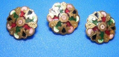 Antique Lot of 3 matching Champleve Enamel Colorful Buttons