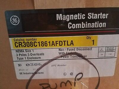 GE Magnetic Starter Combination CR308 w/enclosure, NEMA size 1, 3P, 200V, 7.5 HP