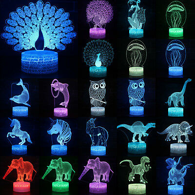 3D Animal LED Night Lights 7 Color Changing Touch Switch Desktop Lamp Party