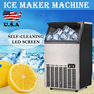 Stainless Steel Commercial Ice Maker Portable Ice Machine Restaurant Bar Home US