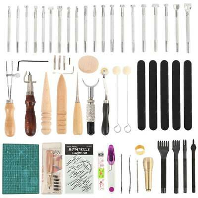 69PC Leather Craft Tools Kit Stitching Sewing Beveler Punch Working Hand Tool US