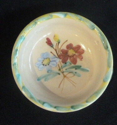"Vintage Denby Stoneware Pottery c1948 Small Handled Bowl ""Gay Border"" Flowers"