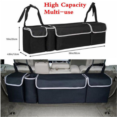 High Capacity Multi-use Car Seat Back Organizers Bag Interior Accessory Black
