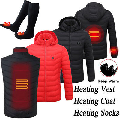 09cf82921 MEN WOMEN HEATING Vest Winter Warm Up Jacket Electric Battery Heated Coat  Lot F1