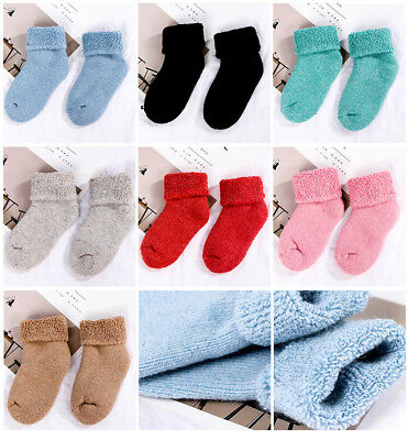 3 Pairs Boys Girls Kids Winter Thicken Warm Soft Wool Socks Thermal Casual Socks