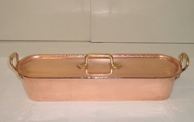 Beautiful antique French copper/brass XL FISH POACHER 1890 hammered/dovetailed