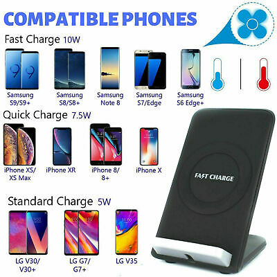 Fast Charge Qi Wireless Charger Stand Dock For Samsung S8/S9 Note 8/9 iPhone 8/X