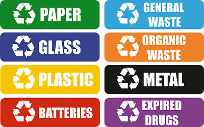 Small Recycling Sticker for Home / School / Office Bins - 35 x 15 mm