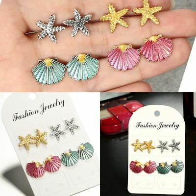 Chic Bohemian Beach Boho Ear Stud Shell Earrings Starfish Jewelry Set