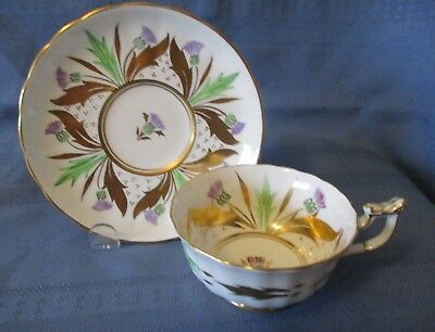 Royal Chelsea Cup & Saucer White With Gold & Green Design  Excellent Condition