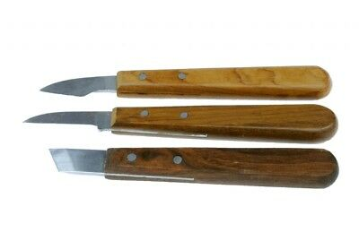 Sheffield Made Set x 3 Straight, Curved & Skew Wood Chip Carving Chisels. W3252