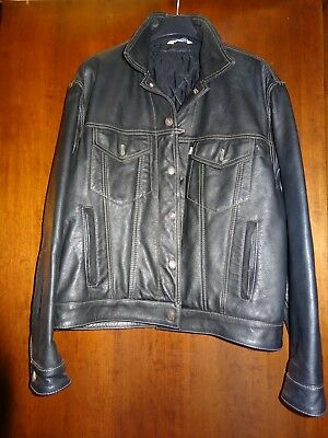 Levi's jacket leather trucker vintage large