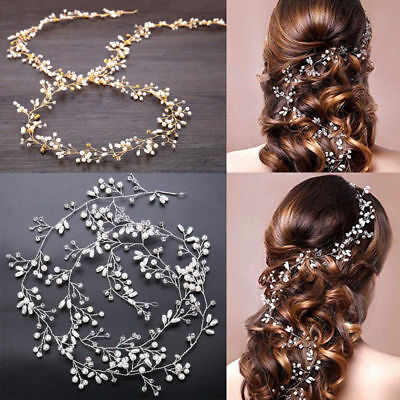 Women Girl Bride Wedding Faux Pearl Hair Band Garland Flower Headband HeadPiece